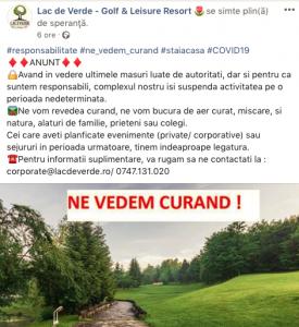 Comunicat Lac De Verde golf in contextul covid19