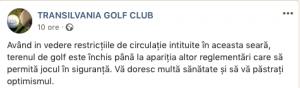 Comunicat Transilvania Golf Club golf in contextul covid19
